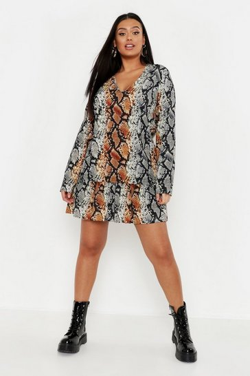 Womens Orange Plus Snake Print Smock Dress