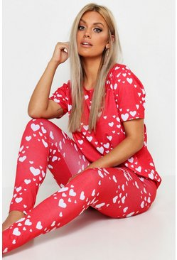 Plus Loungewear-Set mit Herz-Print, Rot