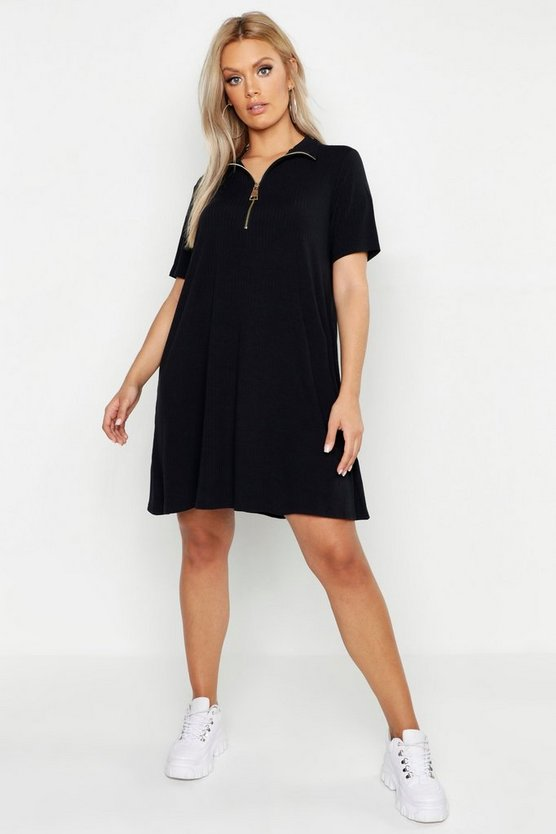 Womens Black Plus Rib Zip High Neck Swing Dress