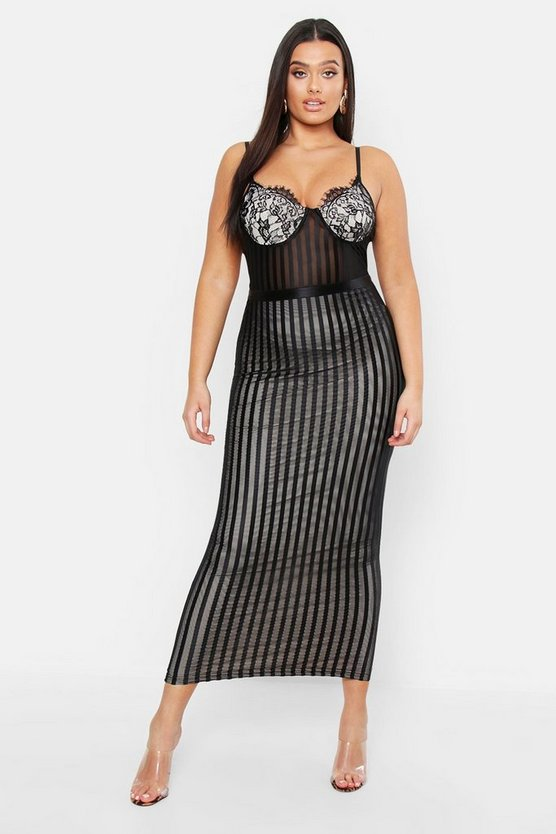Womens Black Plus Lace Stripe Mesh Midi Dress
