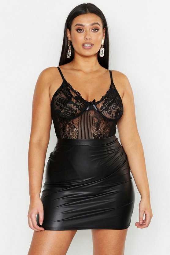 Womens Black Plus Lace Panelled Bodysuit