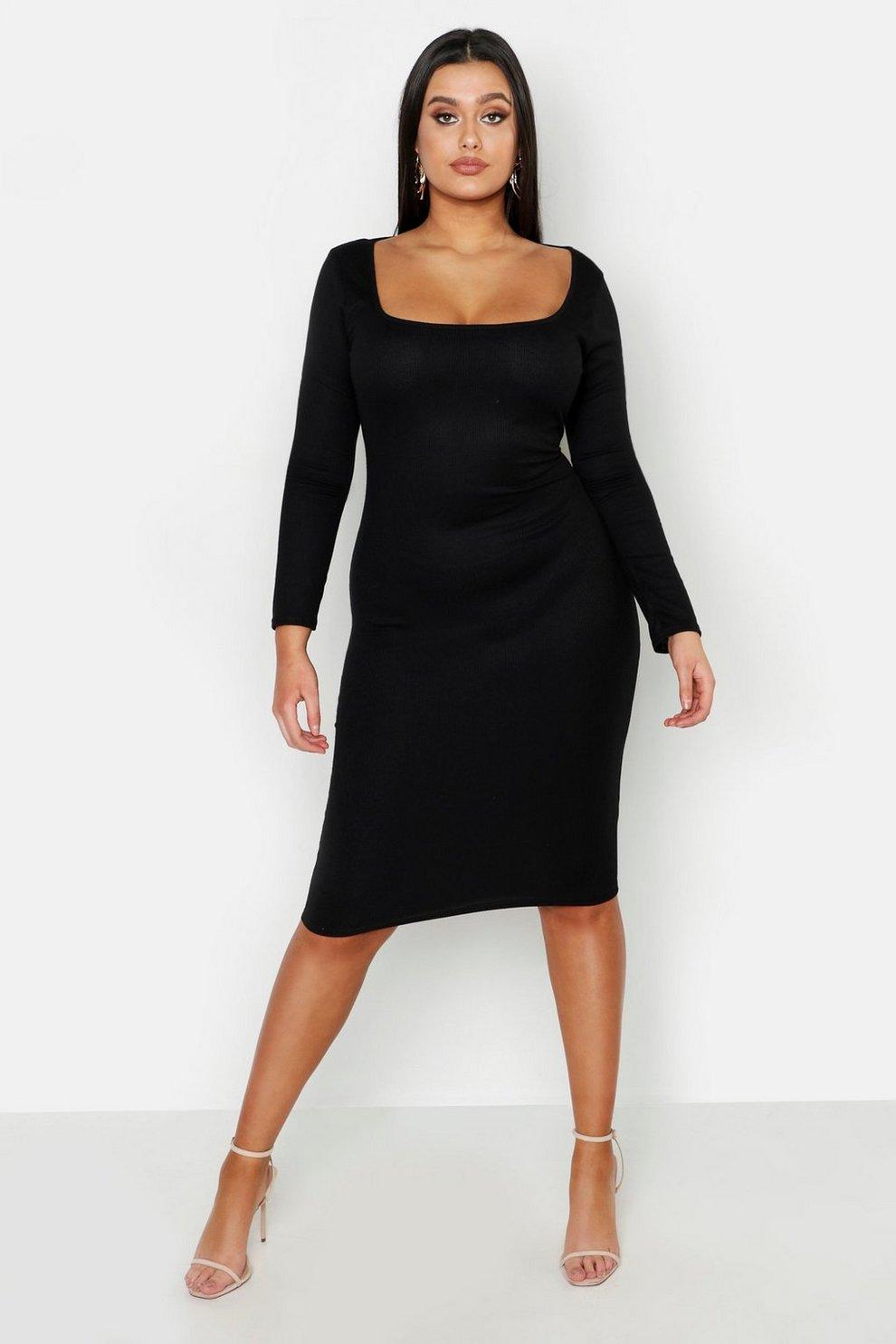 1b6ce408173c2a Plus Rib Long Sleeve Midi Dress