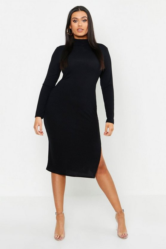 Plus Jumbo Rib High Neck Split Midi Dress