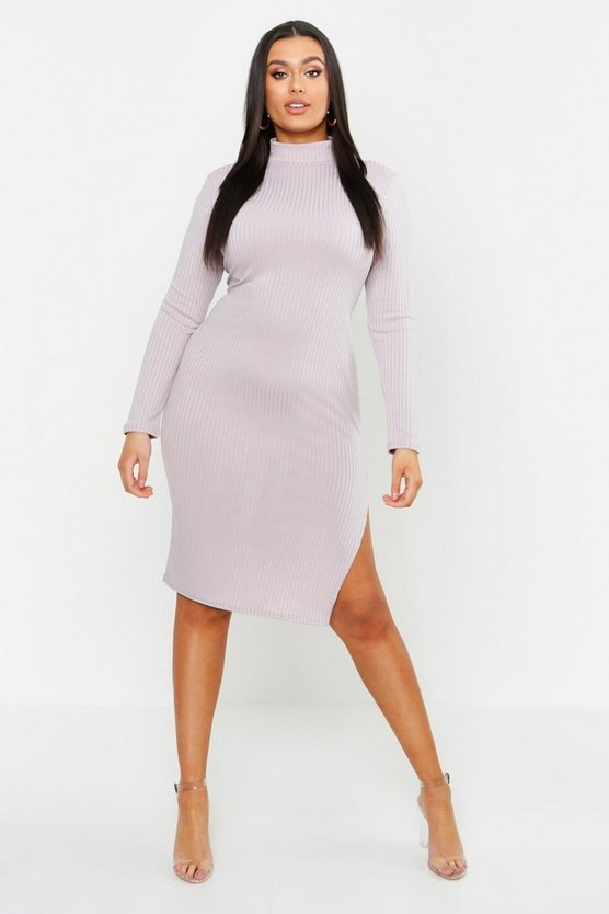 Womens Grey Plus Jumbo Rib High Neck Split Midi Dress