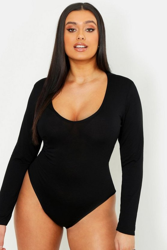 Womens Black Plus Basic Long Sleeve V Neck Body Suit