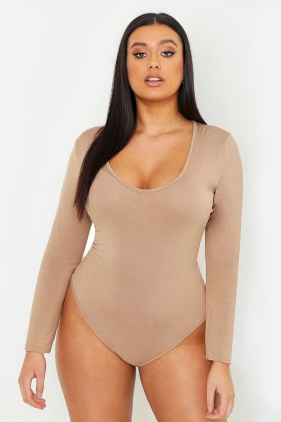 Camel Plus Basic Long Sleeve V Neck Body Suit