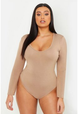 Womens Camel Plus Basic Long Sleeve V Neck Body Suit
