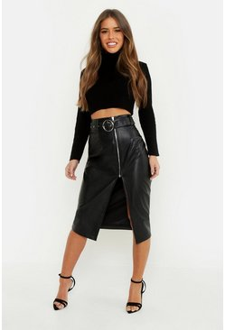 Black Petite Pu Belted Midi Skirt