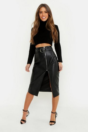 Womens Black Petite Pu Belted Midi Skirt