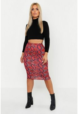 Womens Terracotta Plus Jersey Snake Print Midi Skirt
