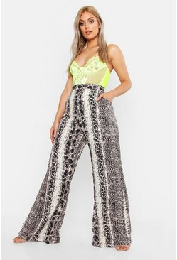 Grey Plus Snake Woven Wide Leg Pants