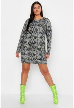 Womens Grey Plus Snake Long Sleeve Sweat Dress