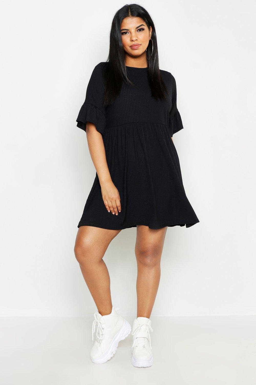 Plus Rib Ruffle Sleeve Smock Dress
