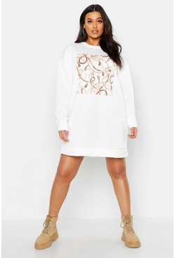 Womens Cream Plus Chain Print Oversized Sweat Dress