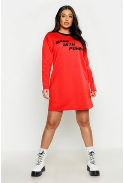 Womens Red Plus 'Babe With Power' Oversized Sweat Dress