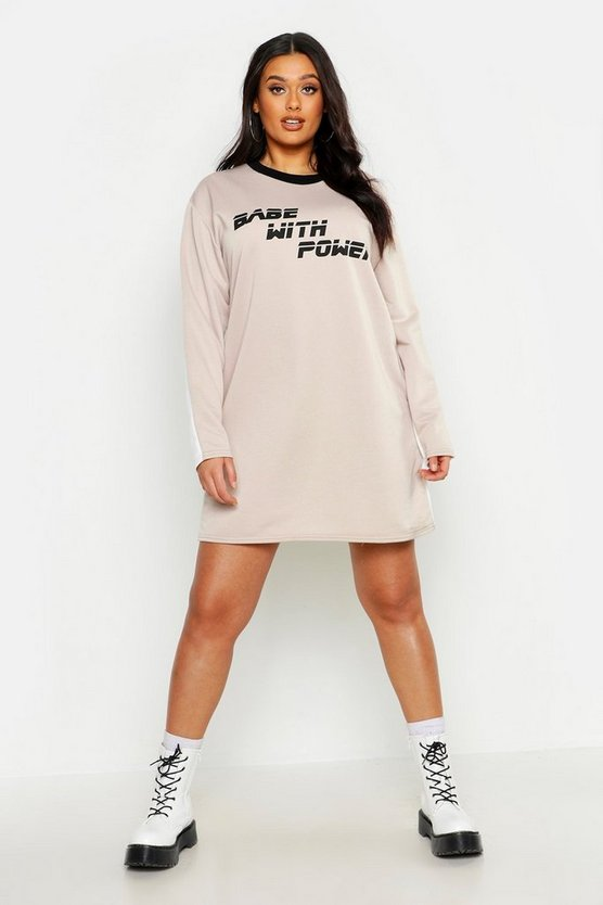 Womens Sand Plus 'Babe With Power' Oversized Sweat Dress