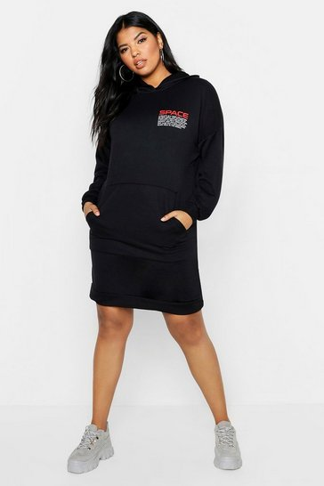 Womens Plus Space Slogan Hooded Sweat Dress