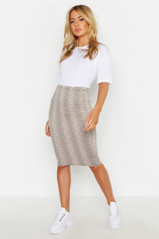 Womens Stone Petite Animal Print Midi Skirt