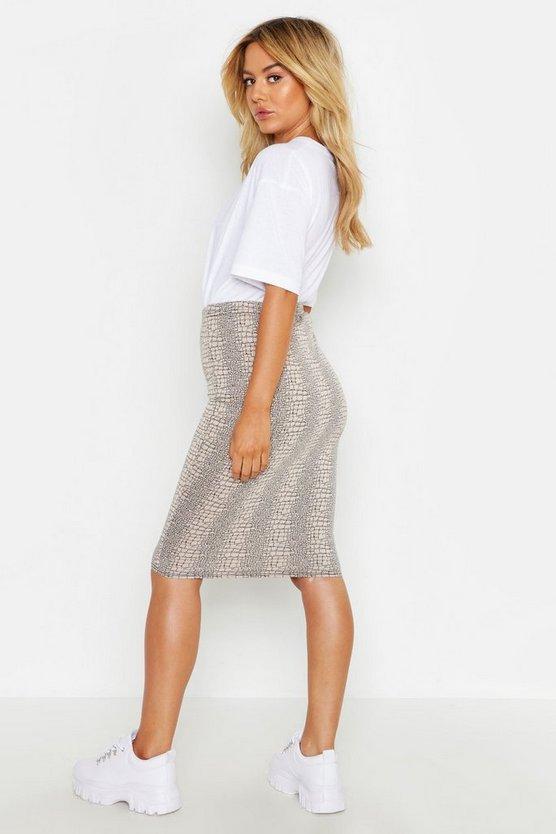Petite Animal Print Midi Skirt