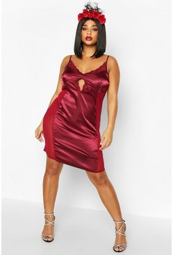 Womens Berry Plus Lace And Satin Midi Dress