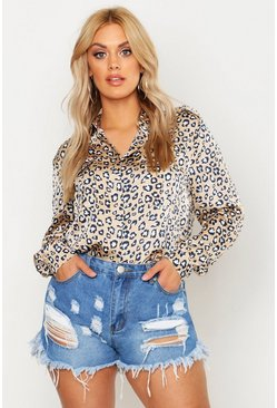 Womens Stone Plus Leopard Print Satin Utility Shirt