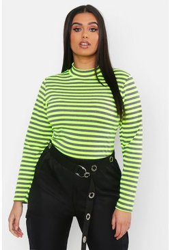 Womens Lime Plus Neon Stripe High Neck Top