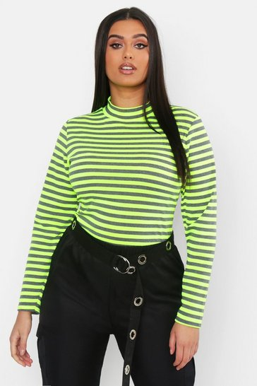 Womens Plus Neon Stripe High Neck Top