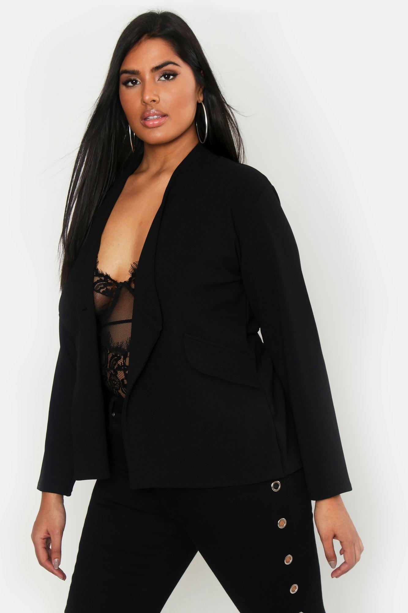 Plus Collarless Button Detail Blazer