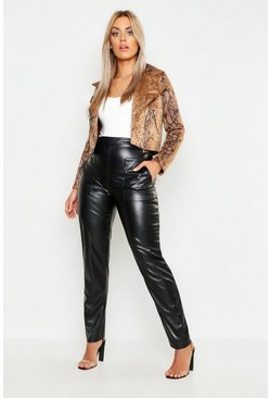 Womens Black Plus Leather Look Pocket Tapered Pants