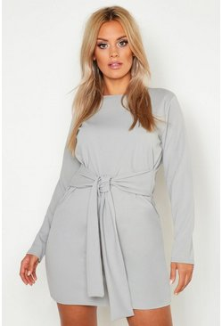 Womens Grey Plus Tie Waist Shift Dress