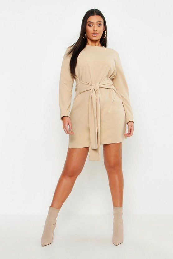Womens Taupe Plus Tie Waist Shift Dress