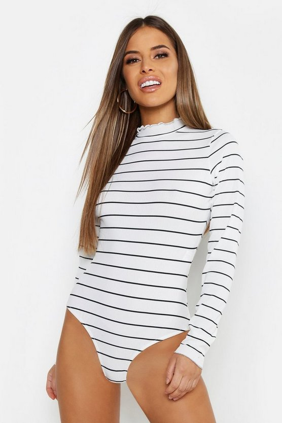 Womens White Petite Stripe Rib High Neck Bodysuit