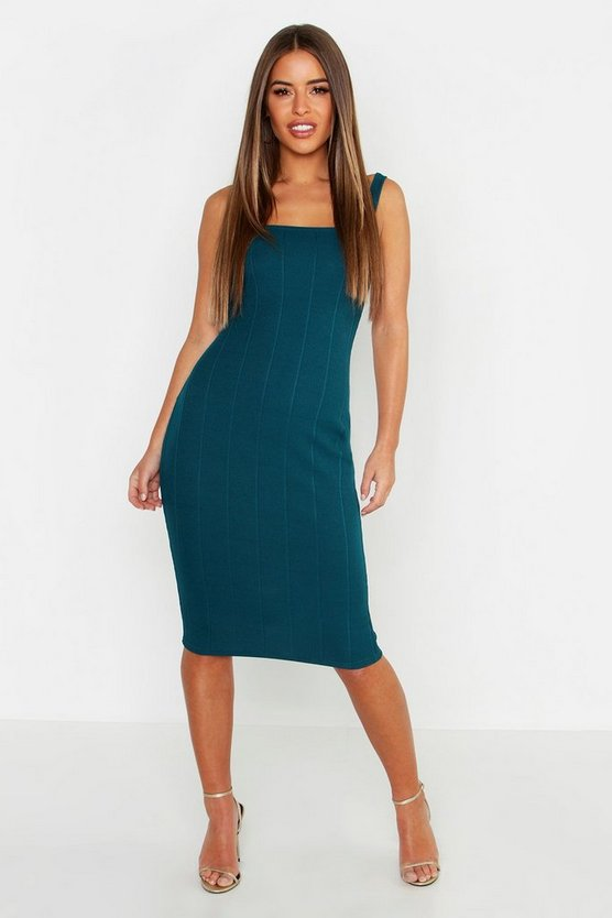 Teal Petite Bandage Square Neck Midi Dress