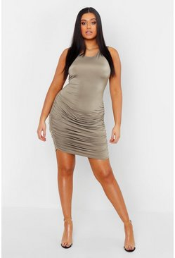 Womens Olive Plus Slinky Ruched Tank Mini Dress