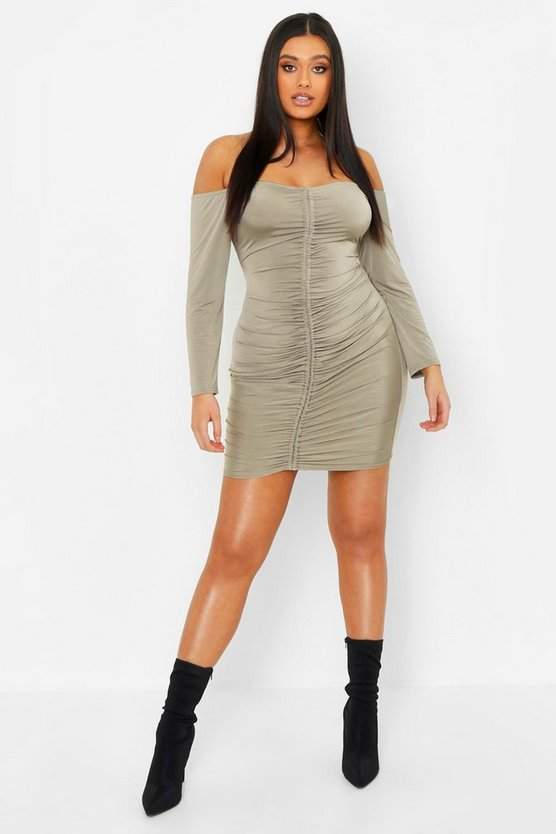 Womens Olive Plus Slinky Off The Shoulder Ruched Bodycon Dress