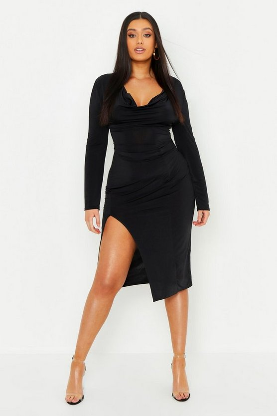 Black Plus Slinky Cowl Neck Ruched Midi Dress