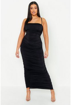 Womens Black Plus Slinky Ruched Midaxi Dress