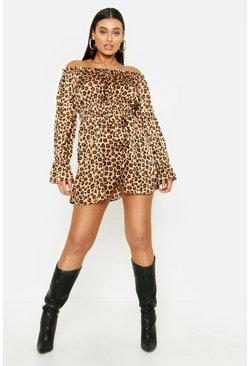 Womens Tan Plus Leopard Satin Ruffle Wrap Dress