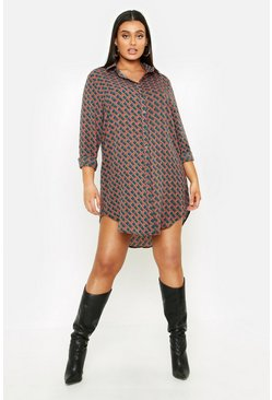 Womens Green Plus Geo Print Oversized Shirt Dress