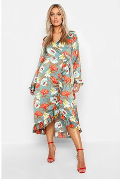 Plus Floral Satin Ruffle Wrap Dress, Sage, ЖЕНСКОЕ