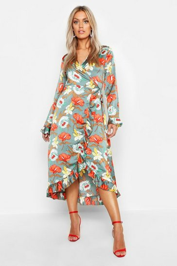 Womens Sage Plus Floral Satin Ruffle Wrap Dress