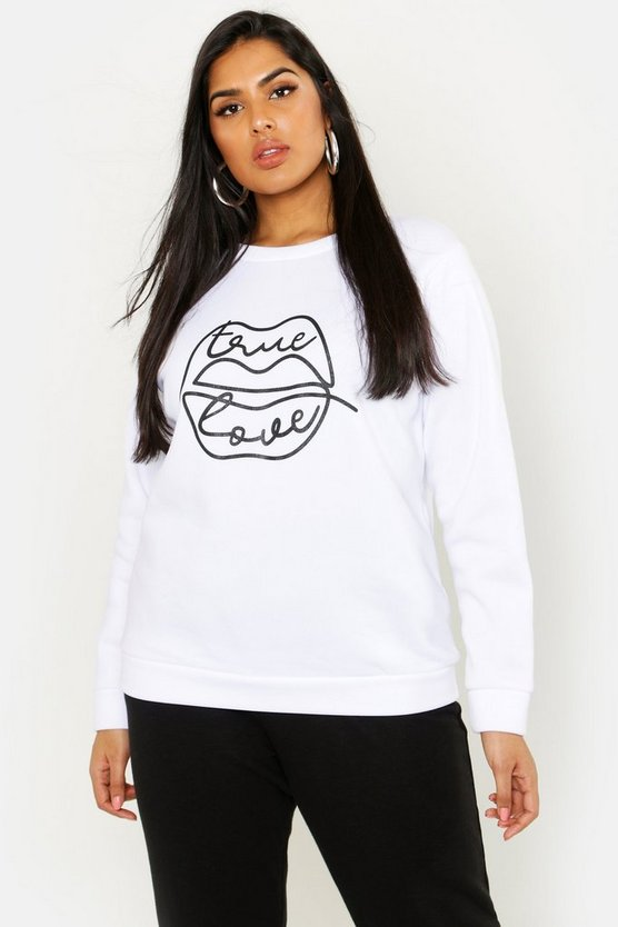 Womens White Plus Love Is Love Lips Graphic Sweat