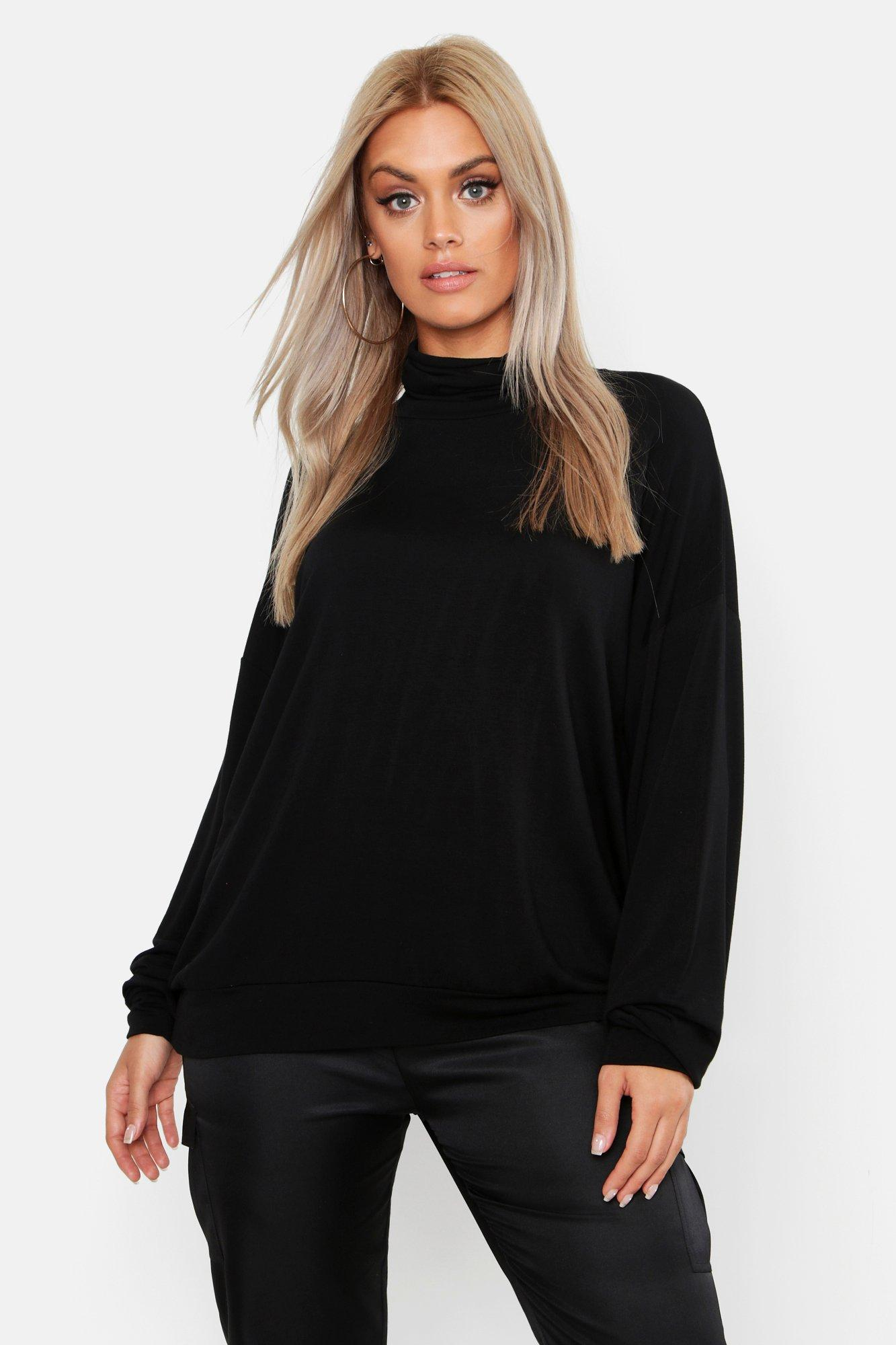 Plus Oversized High Neck Sweatshirt