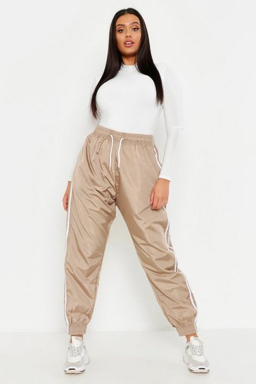 Womens Camel Plus Side Stripe Shell Jogger