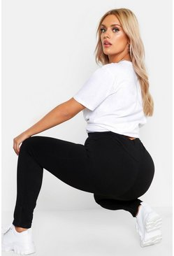 Plus Poformende Leggings, Schwarz, Damen