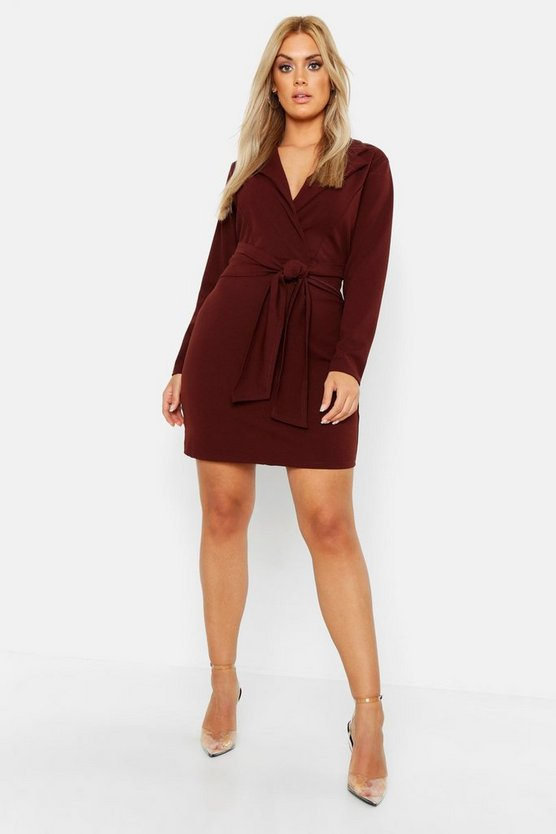 Womens Chocolate Plus Belted Shirt Dress
