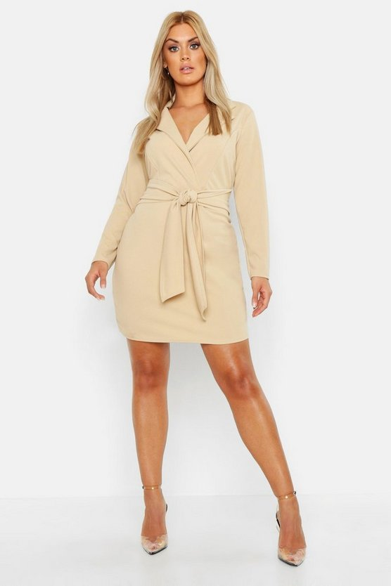 Womens Stone Plus Belted Shirt Dress