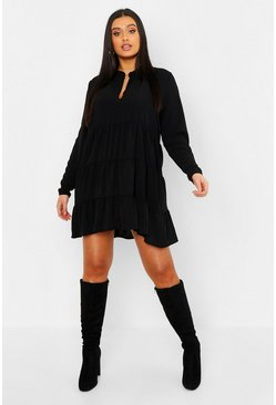 Womens Black Plus Tiered Smock Dress