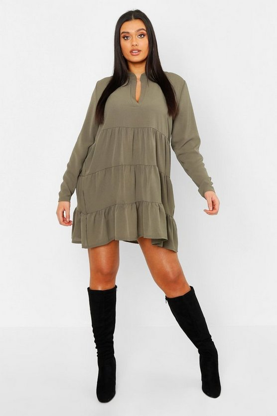 Plus Tiered Smock Dress