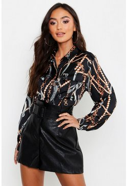 Womens Black Petite Chain Print Utility Shirt